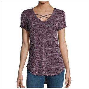 Purple Criss Cross Short Sleeve Knit Top a.n.a